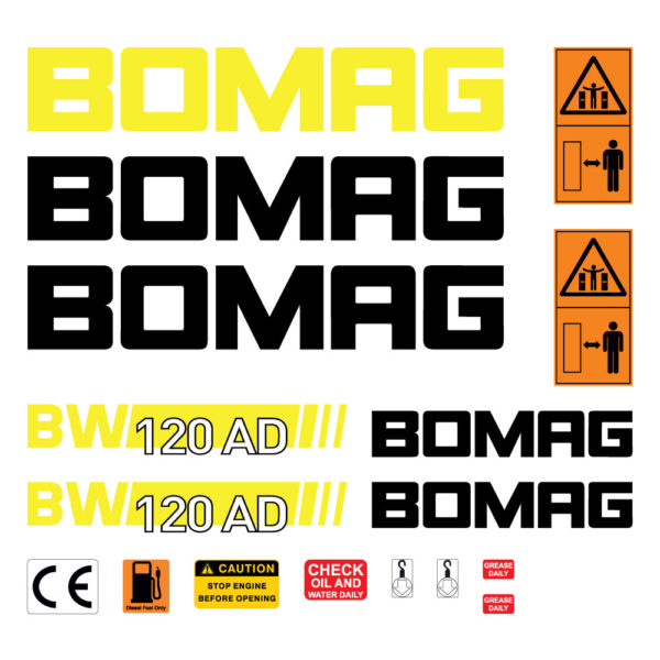 Bomag BW120ADH Decal Set