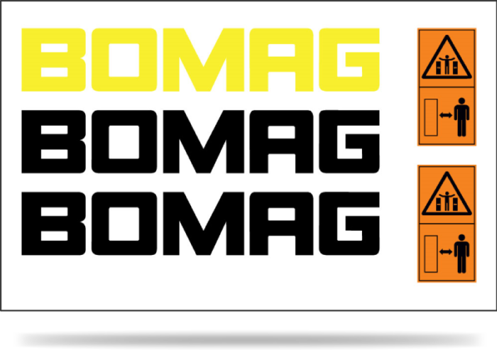 A Bomag decal set