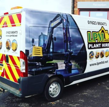 LPM Plant Hire van with a vehicle wrap and chevron kit